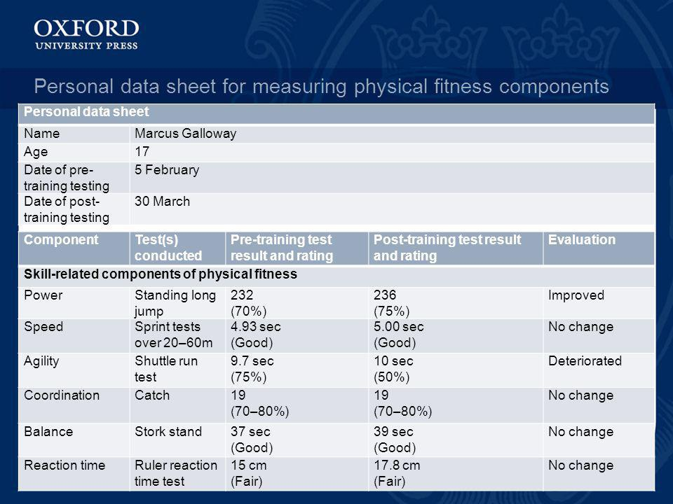 Personal Data Sheet For Measuring Physical Fitness Components
