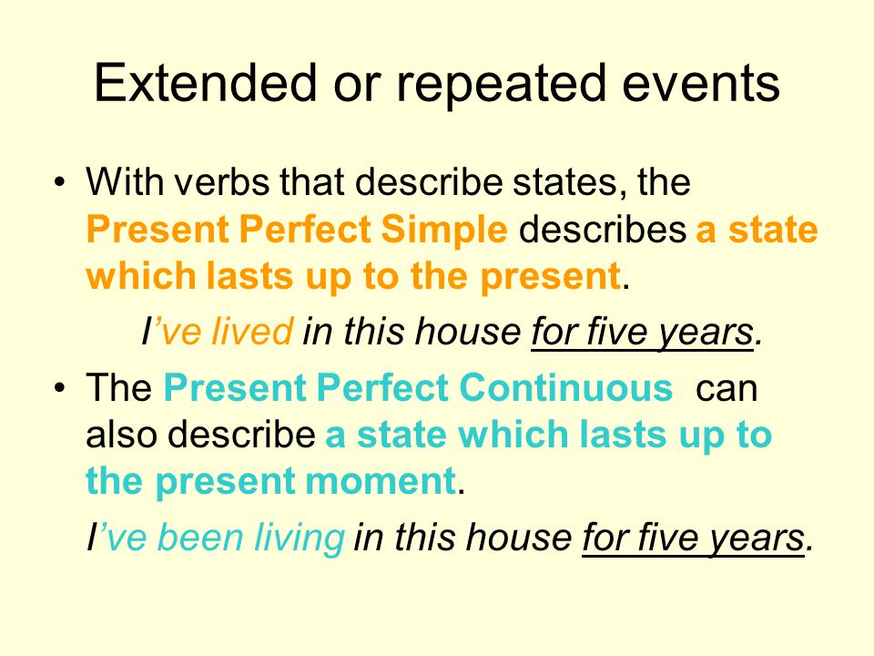 Extended or repeated events