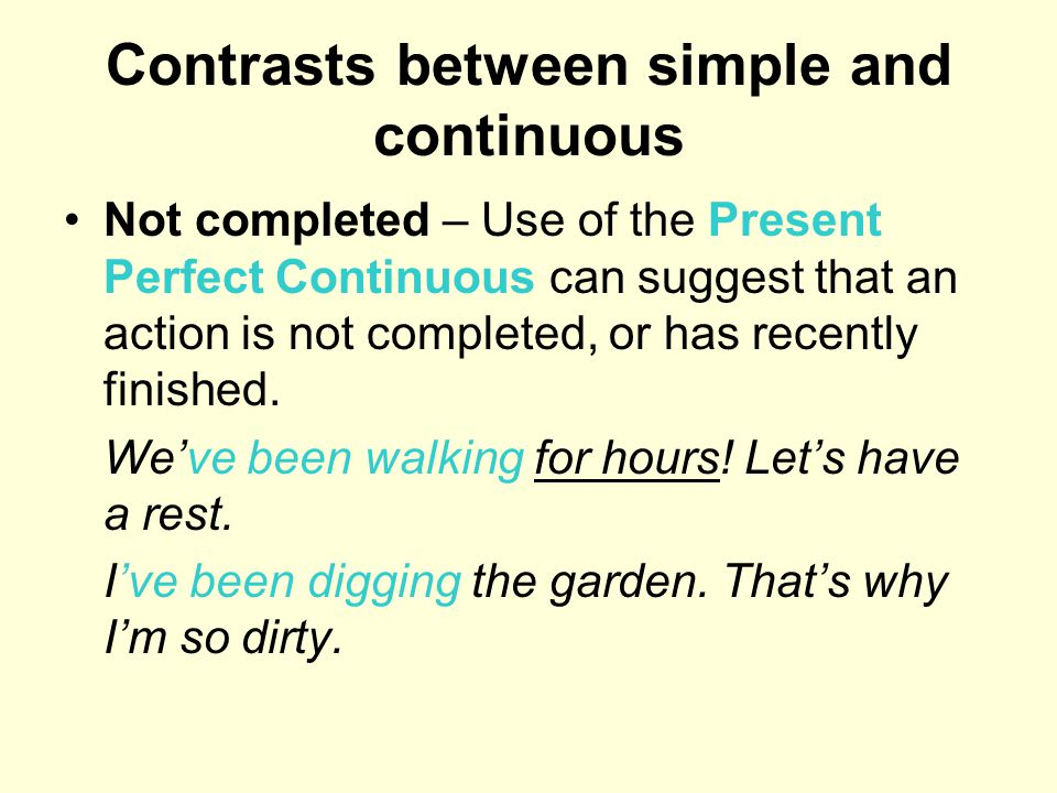 Contrasts between simple and continuous