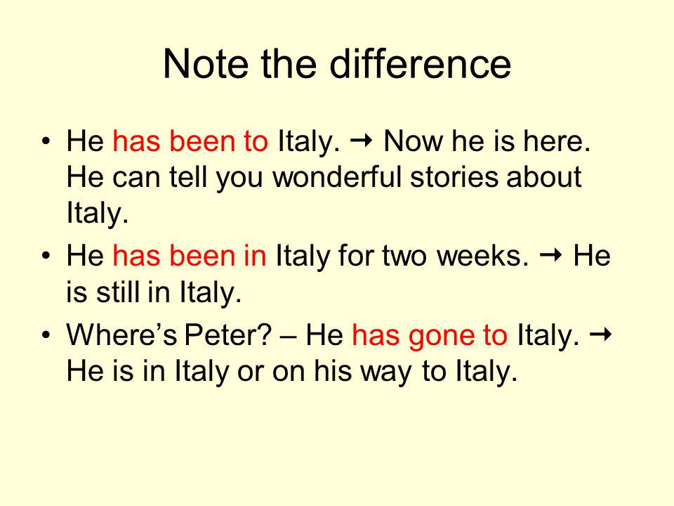 Note the difference He has been to Italy.  Now he is here. He can tell you wonderful stories about Italy.