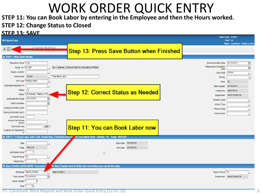infor work request and work order quick entry process 12 01 16 ppt