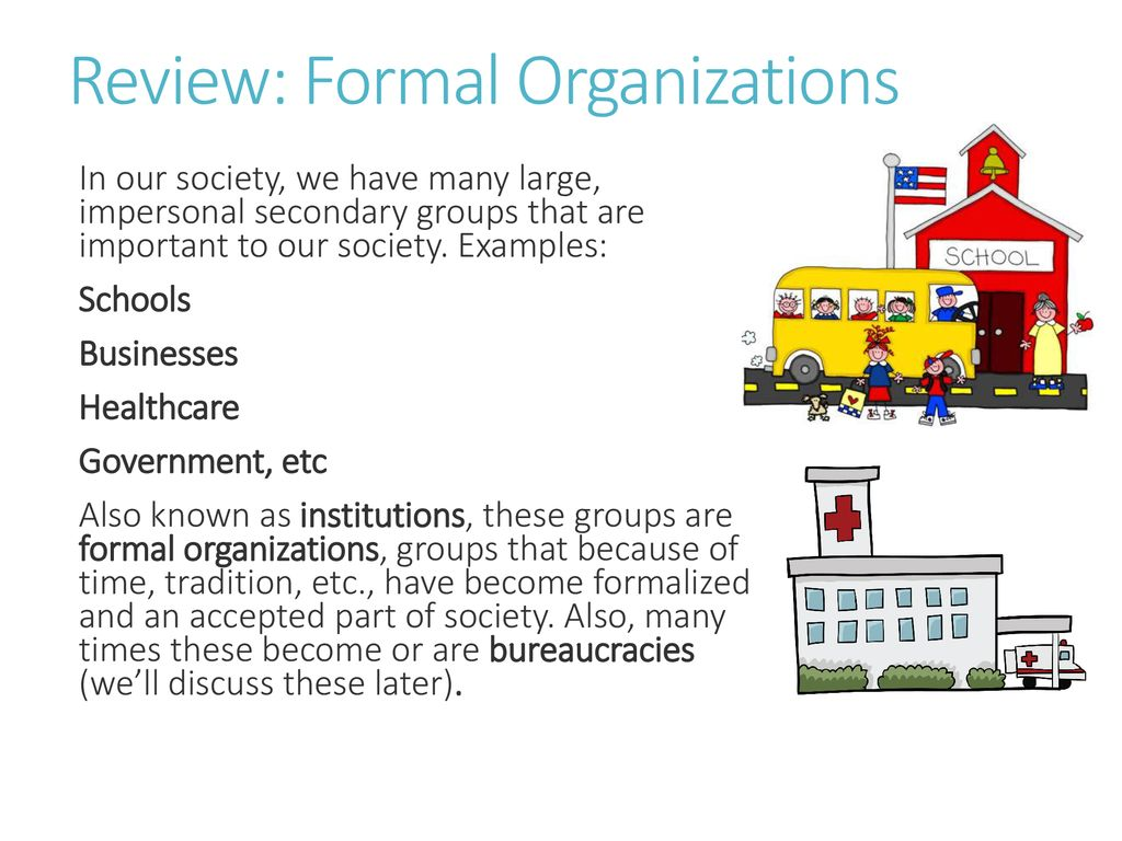 examples of secondary groups in society