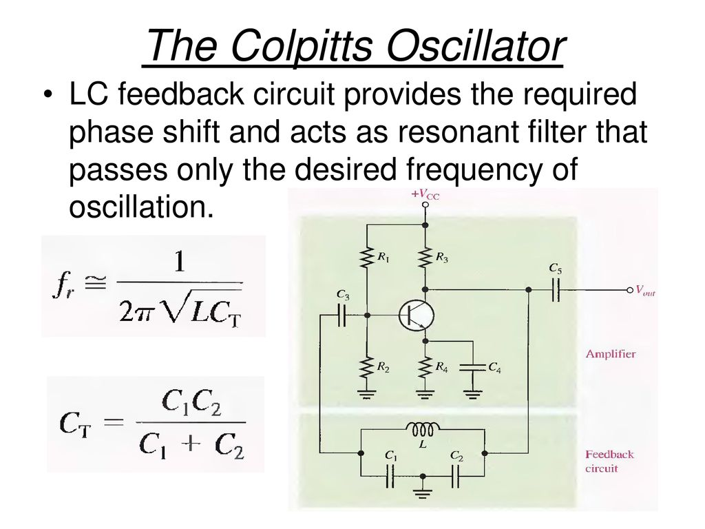 Oscillators With Lc Feedback Circuits Ppt Download The Colpitts Oscillator Circuit Consists Of A 3