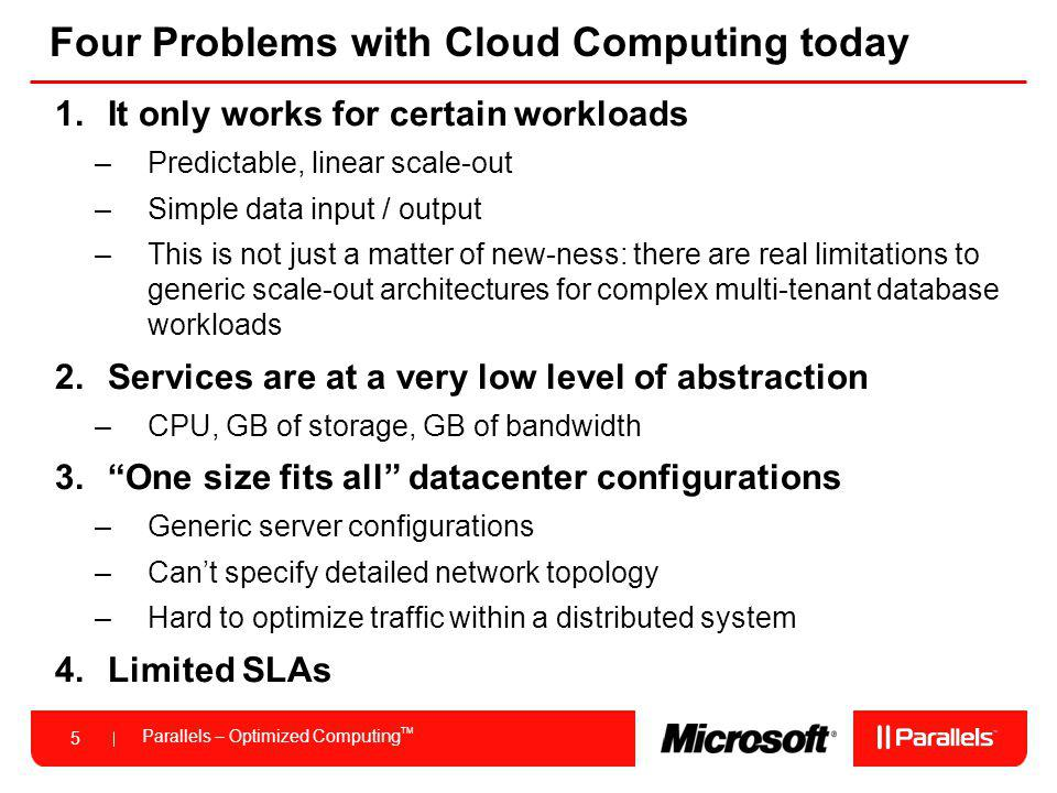 Four Problems with Cloud Computing today