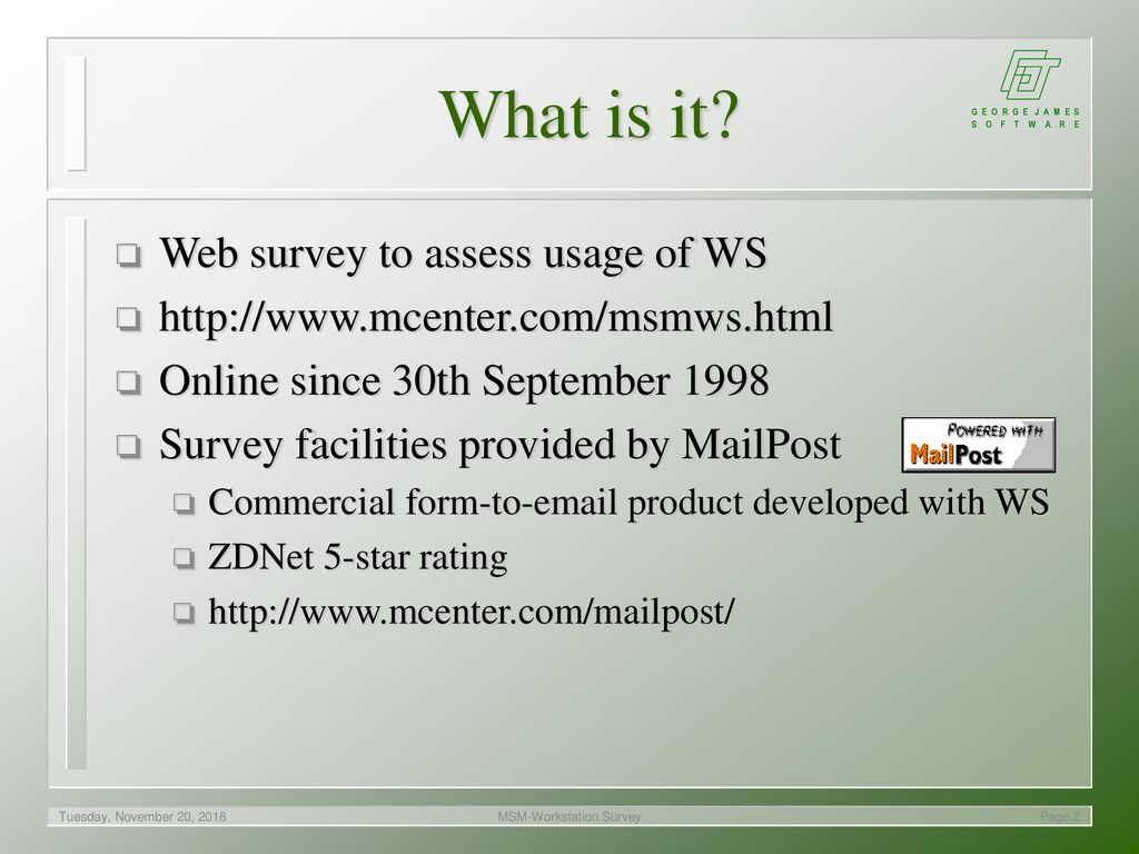 MSM-Workstation Survey - ppt download
