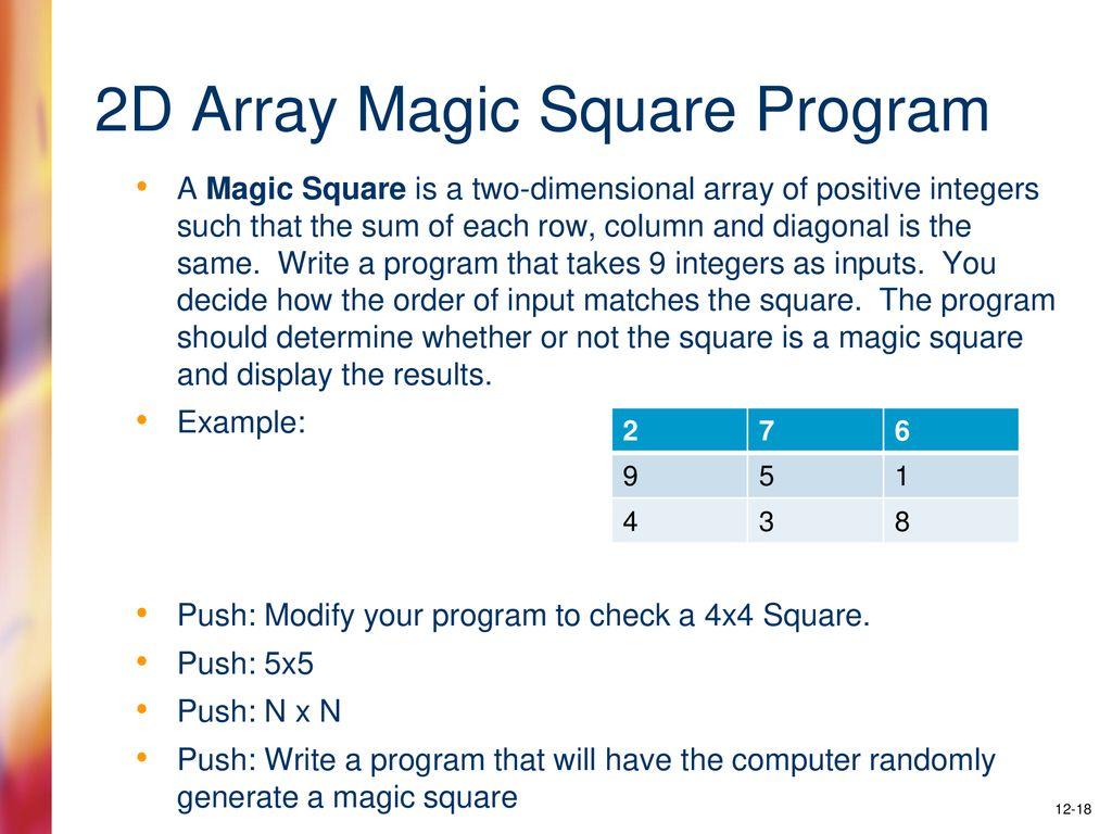 magic square program