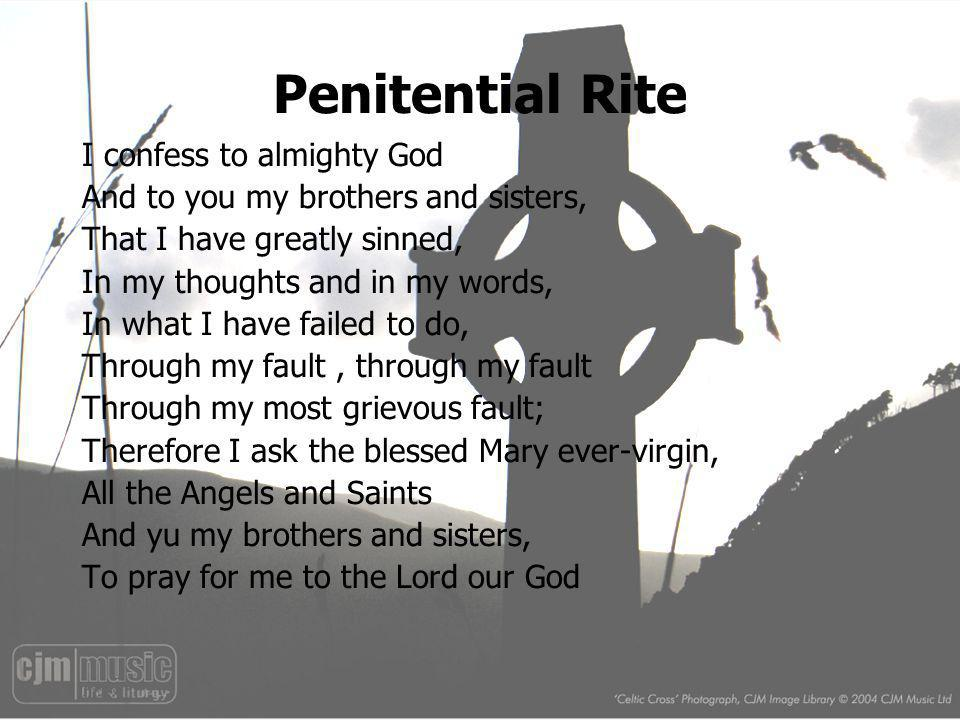 Penitential Rite I confess to almighty God