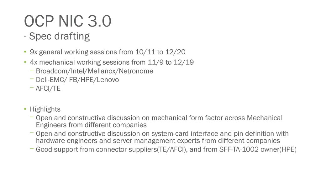 OCP NIC 3 0 Discussion - status update to community - ppt