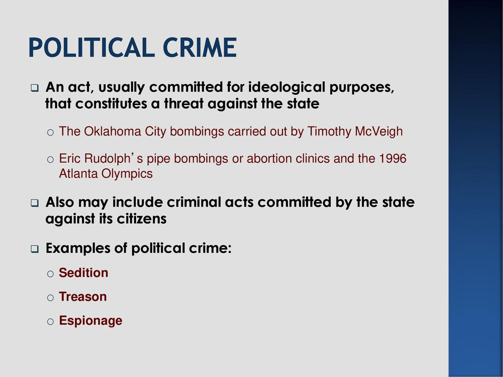 State crimes. Learning objectives: to understand what is meant by.