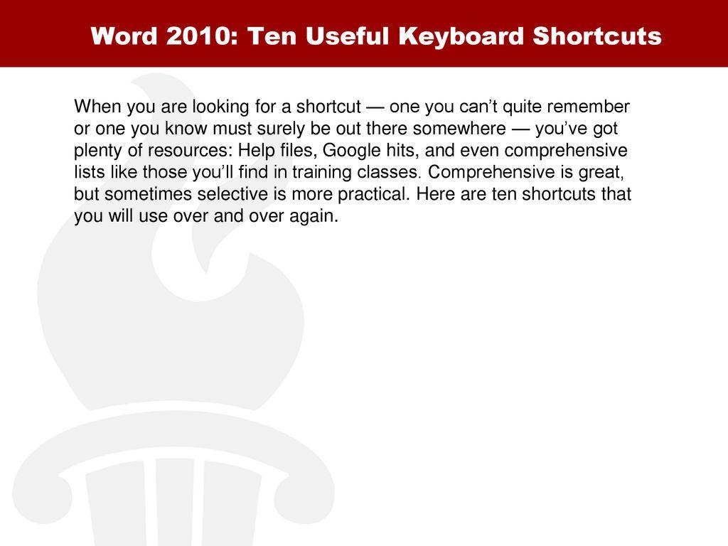 microsoft word 2010 keyboard shortcuts