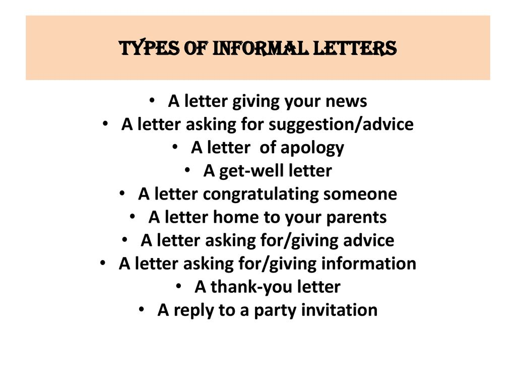 types of informal letters