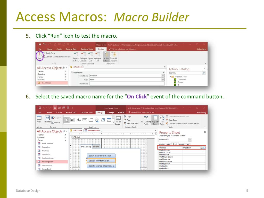 DB Implementation: MS Access Macros - ppt download