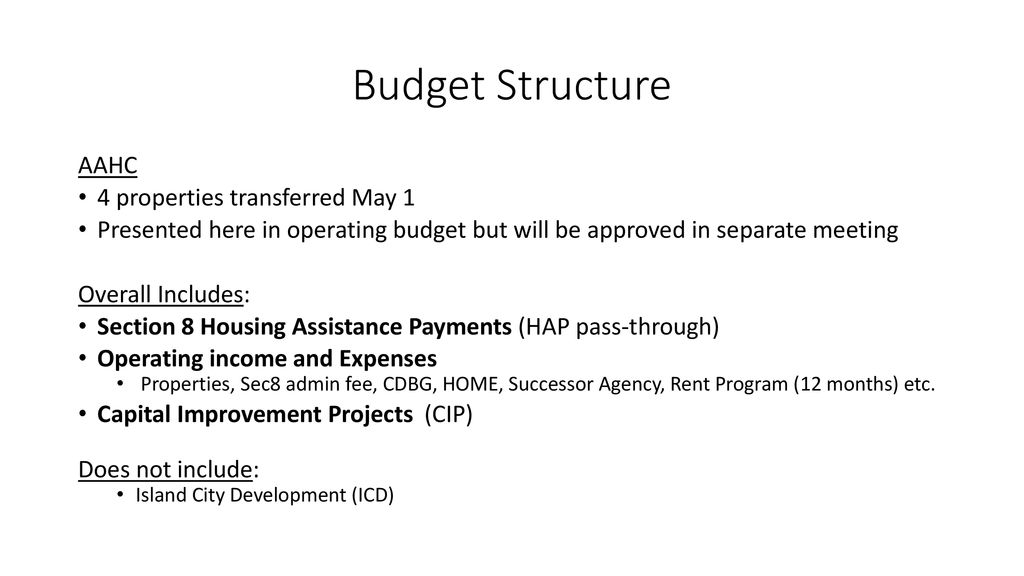Housing Authority of the City of Alameda Budget Presentation