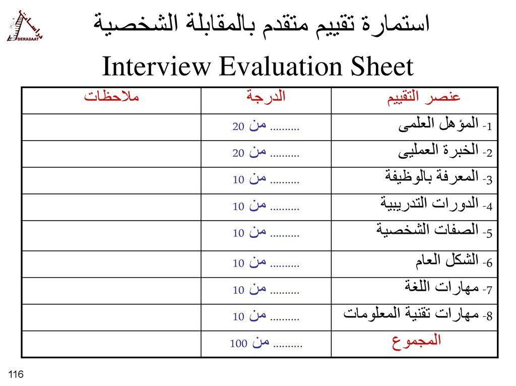 نموذج تقييم مقابلة شخصية