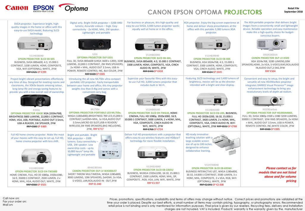 CANON EPSON OPTOMA PROJECTORS - ppt download