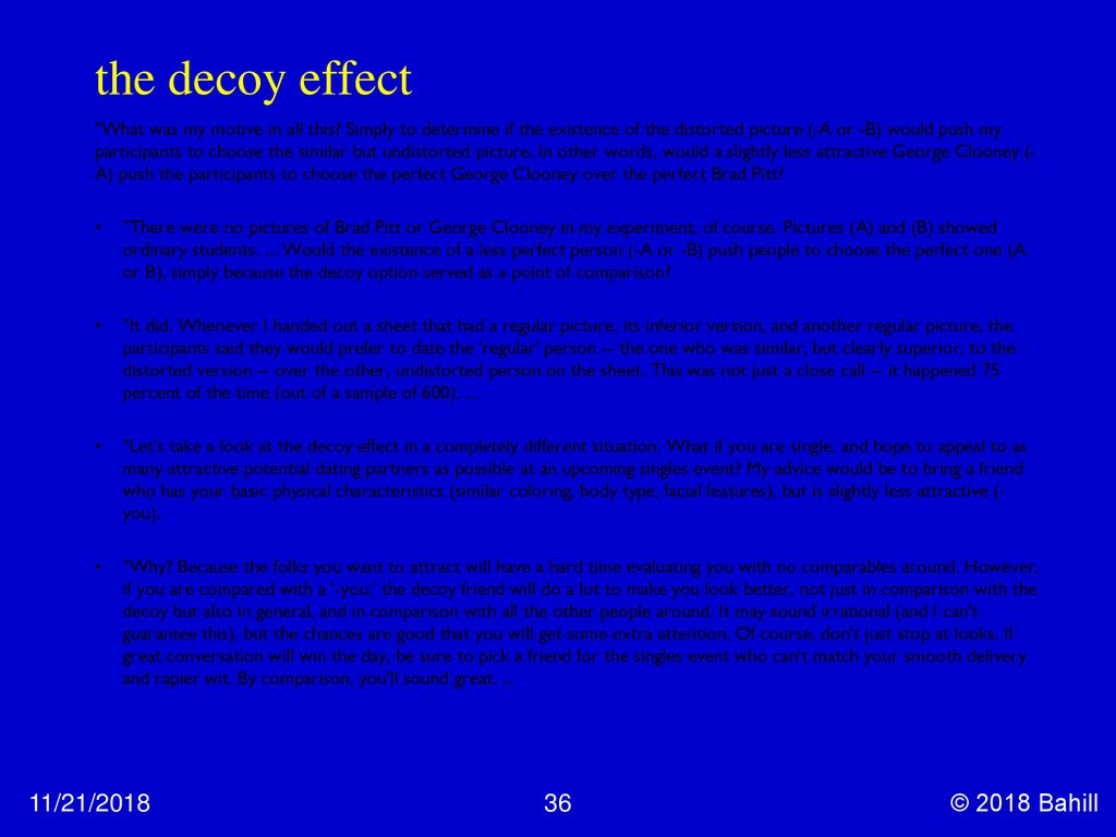 Decoy effect dating