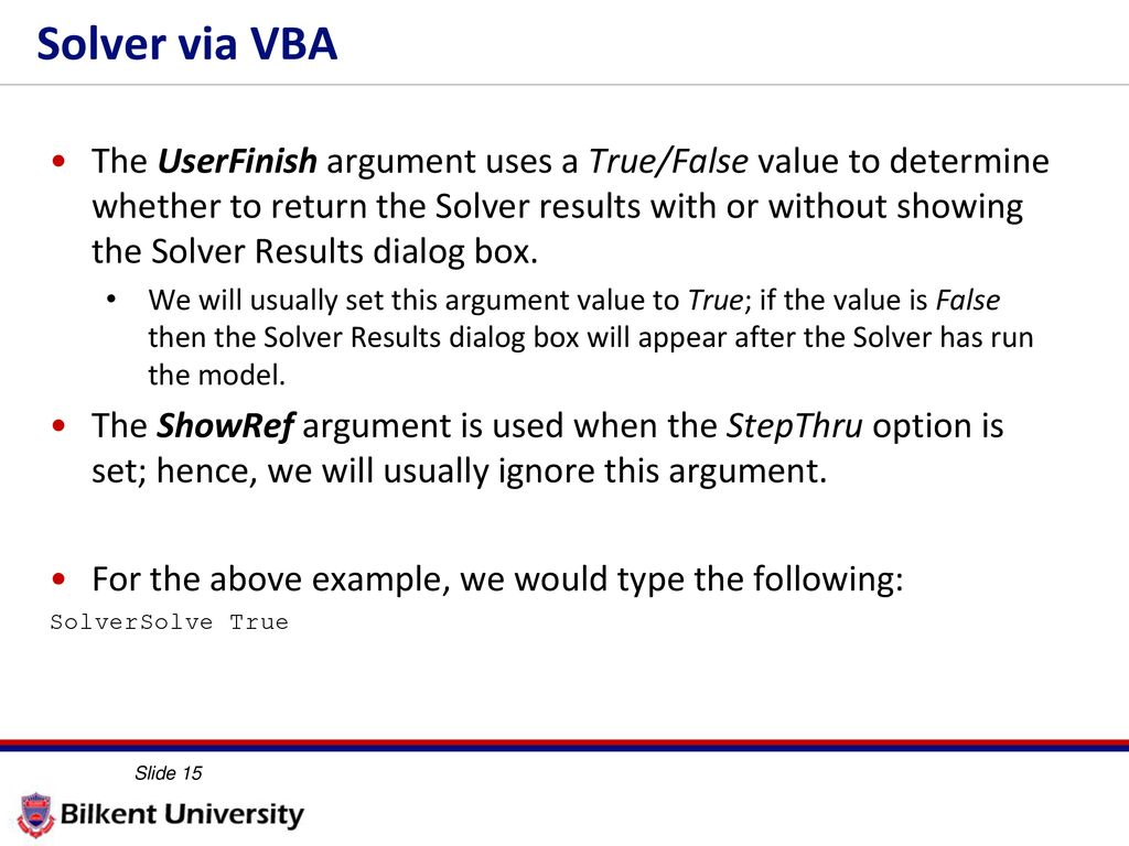 Solver via VBA IE 469 Fall ppt download