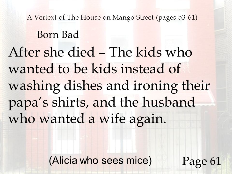 house on mango street alicia who sees mice