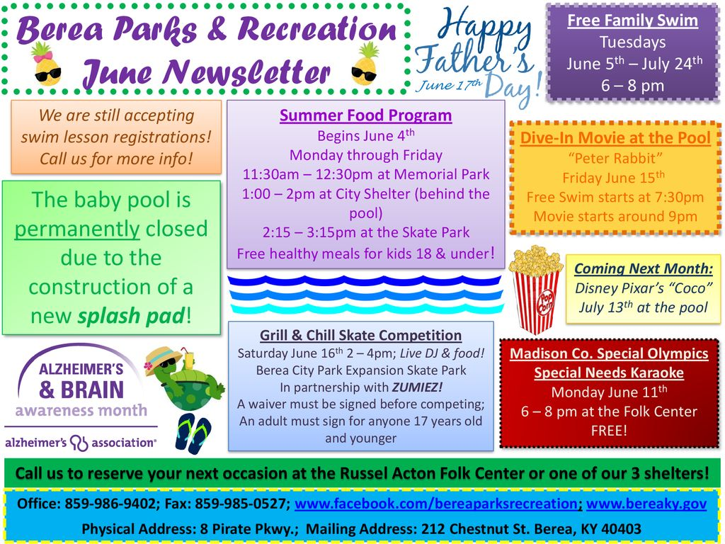Free Talk In Acton Tuesday June 2nd By >> Berea Parks Recreation June Newsletter Ppt Download