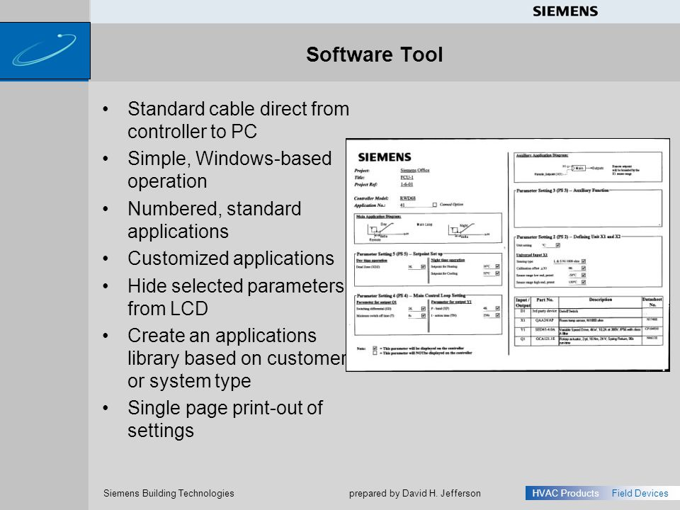 Software Tool Standard cable direct from controller to PC