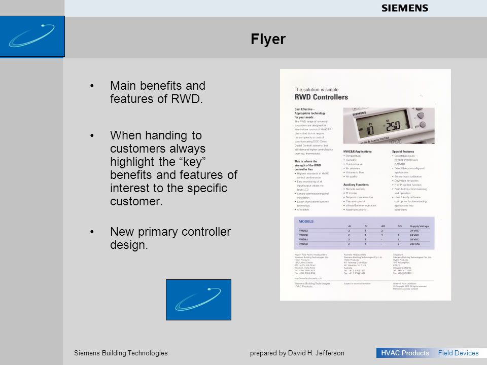Flyer Main benefits and features of RWD.