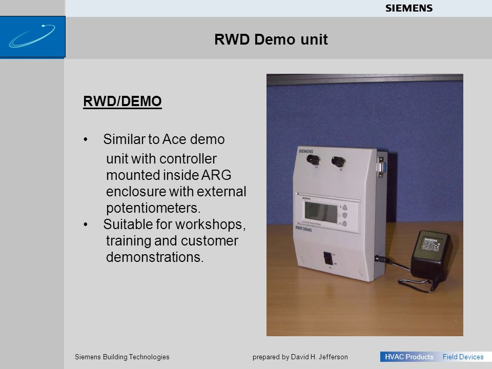 RWD Demo unit RWD/DEMO Similar to Ace demo unit with controller