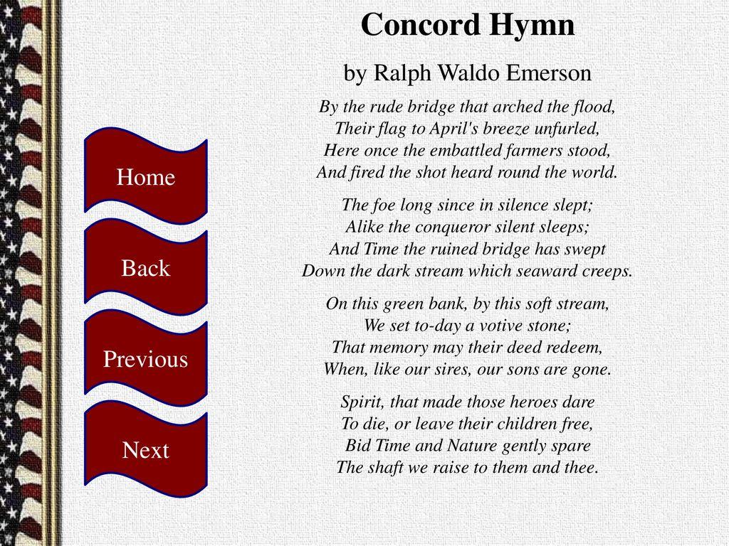 concord hymn by ralph waldo emerson