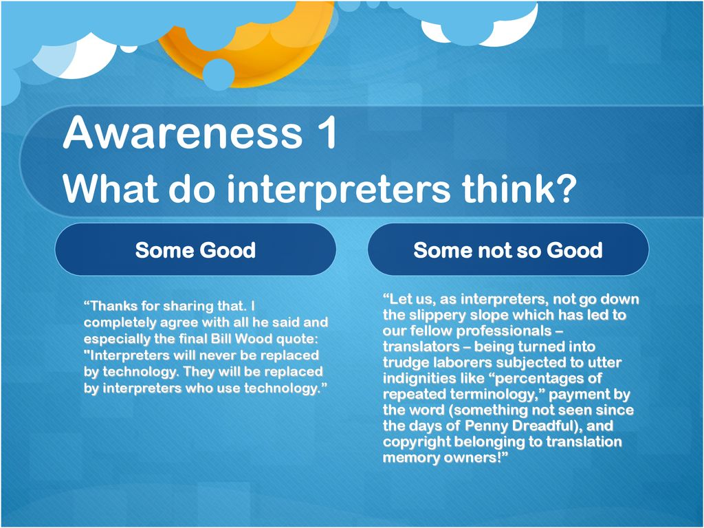 Awareness 1 What do interpreters think