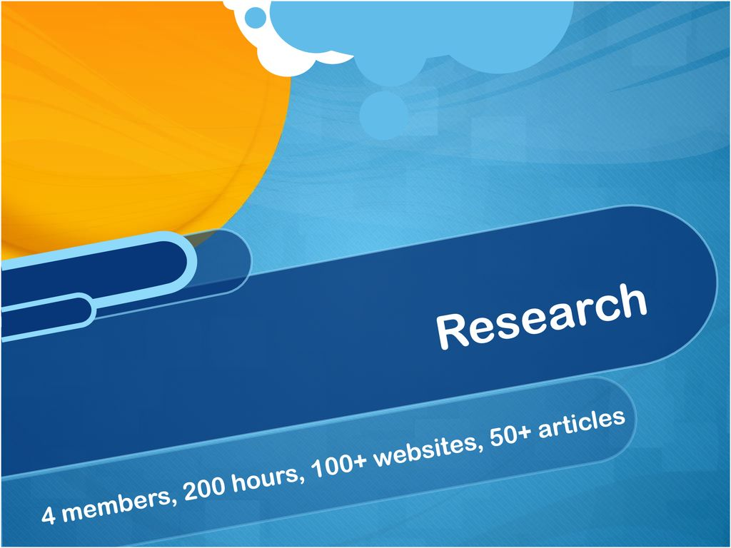 Research 4 members, 200 hours, 100+ websites, 50+ articles