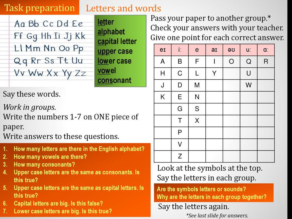 A0-A1 Unit One Lesson 1C Letters and words  - ppt download