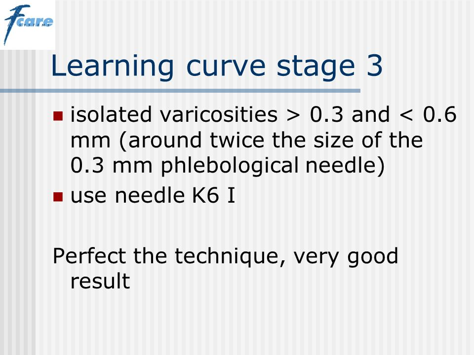 Learning curve stage 3 isolated varicosities > 0.3 and < 0.6 mm (around twice the size of the 0.3 mm phlebological needle)