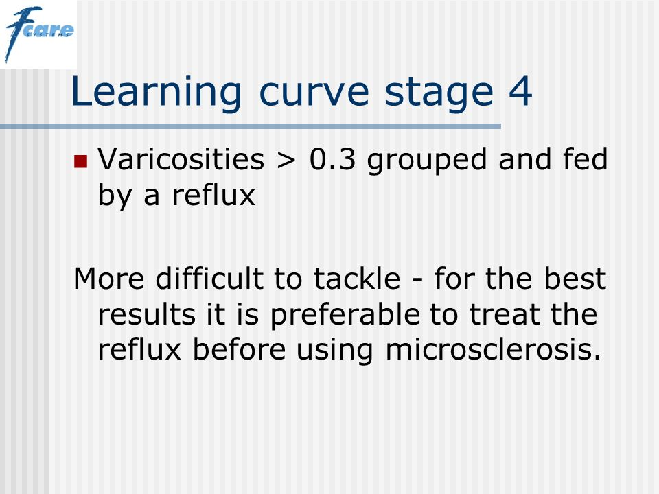 Learning curve stage 4 Varicosities > 0.3 grouped and fed by a reflux.