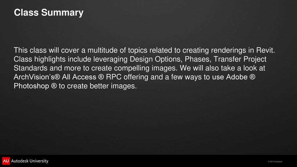 Autodesk® Revit® Rendering Tips You Can Use - ppt download