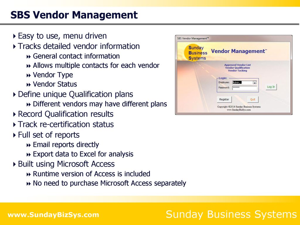 SBS Vendor Management™ - ppt download