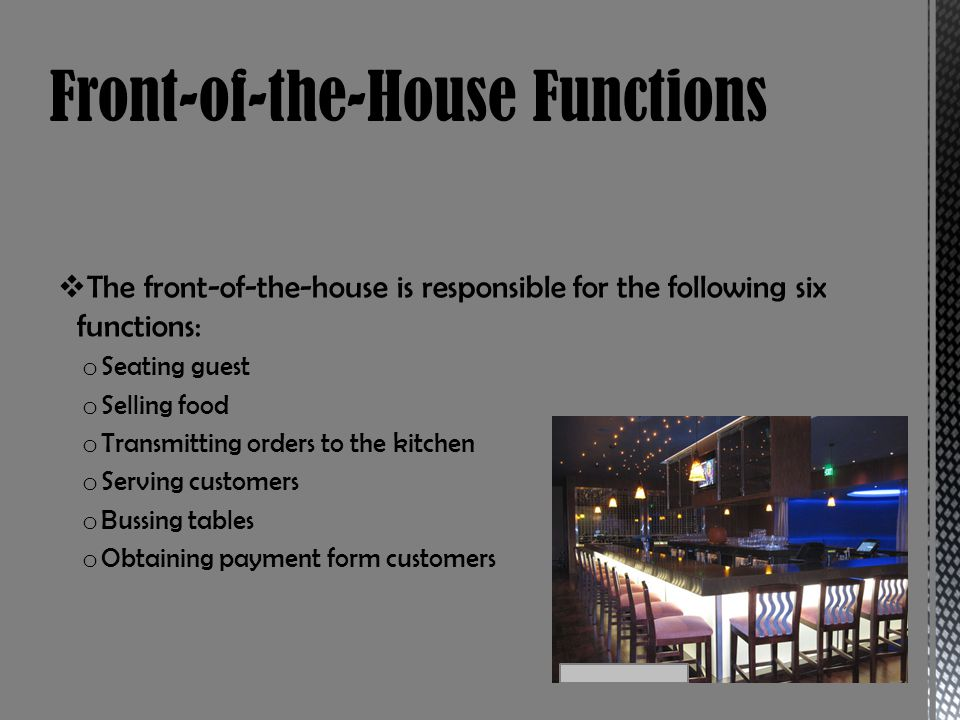 Front-of-the-House Functions