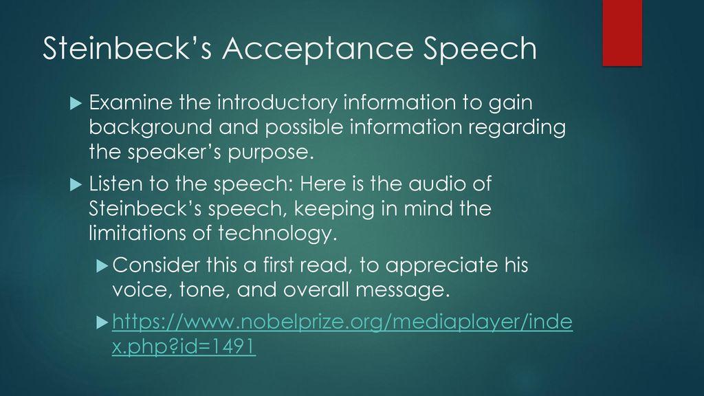 john steinbeck nobel prize speech summary