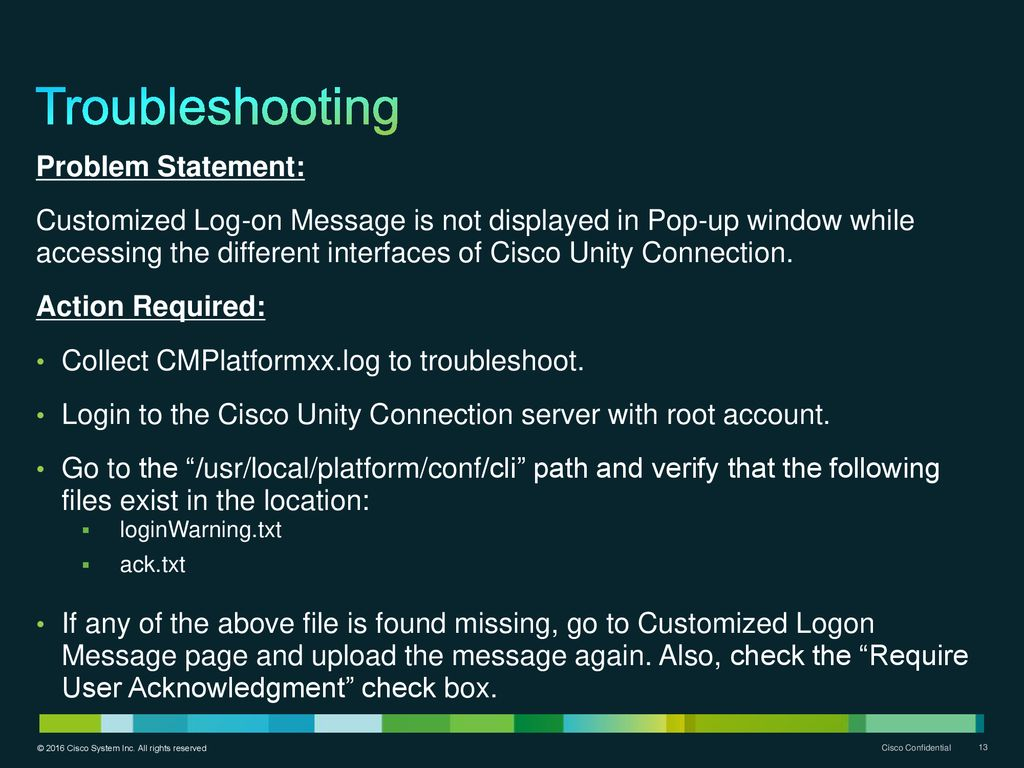 Cisco Unity Connection Customized Log-on Message - ppt download