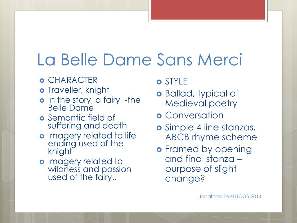 la belle dame sans merci imagery