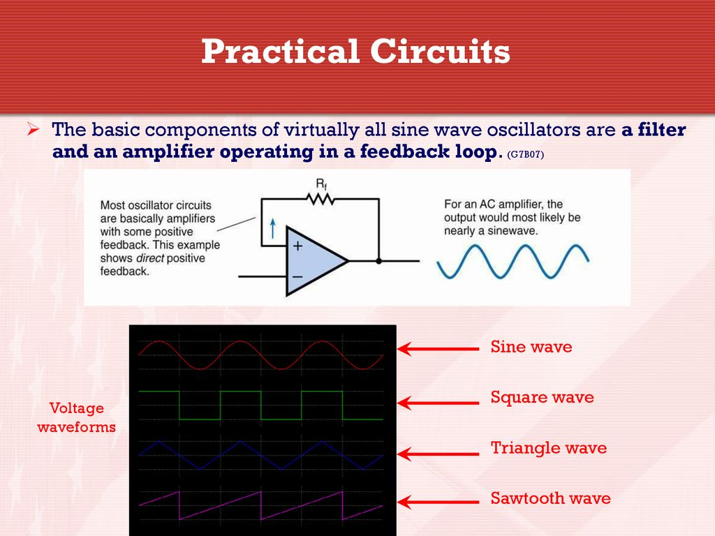 General Licensing Class Ppt Download Singlejunction Transistor Sine Wave Oscillator Circuit Diagramas Practical Circuits The Basic Components Of Virtually All Oscillators Are A Filter And An