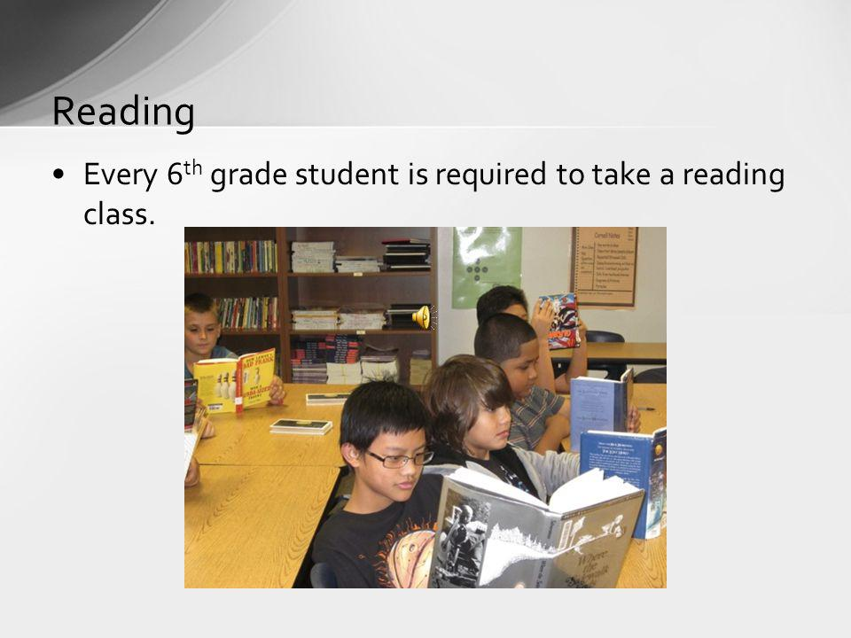 Reading Every 6th grade student is required to take a reading class.