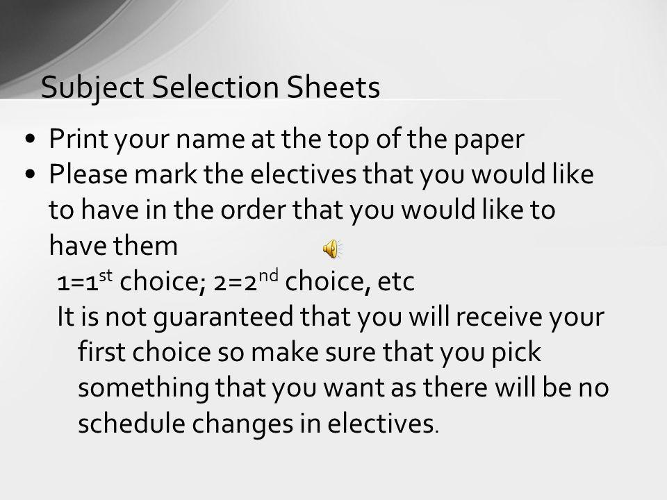 Subject Selection Sheets