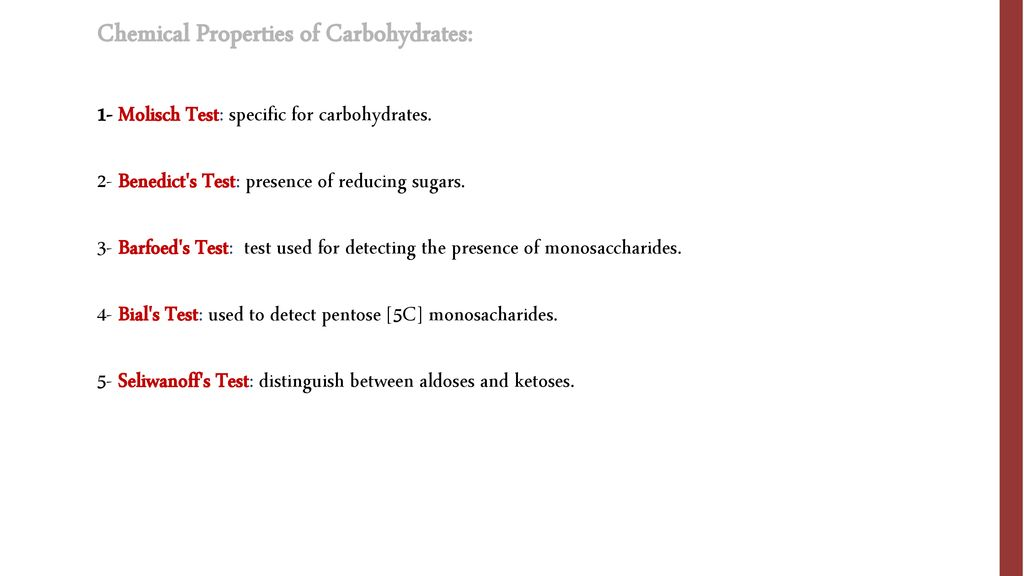 Chemical Properties of Carbohydrates: