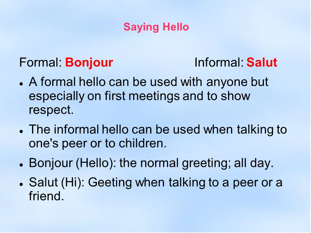 French greetings and salutations ppt video online download french greetings and salutations 2 formal m4hsunfo