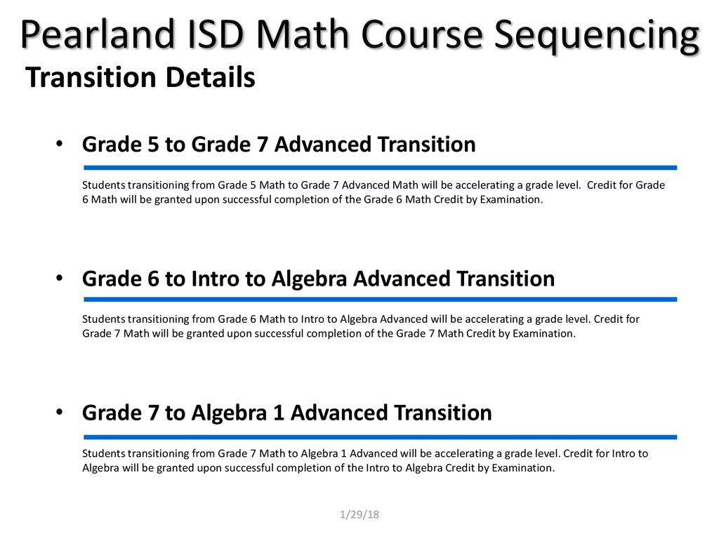 A B Pearland ISD 2018 – 2019 Math Course Sequencing Pathway