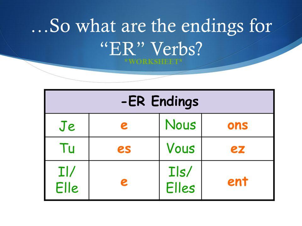 Les Verbs En Er Ppt Download. So What Are The Endings For Er Verbs. Worksheet. Worksheet French Er Verbs At Mspartners.co