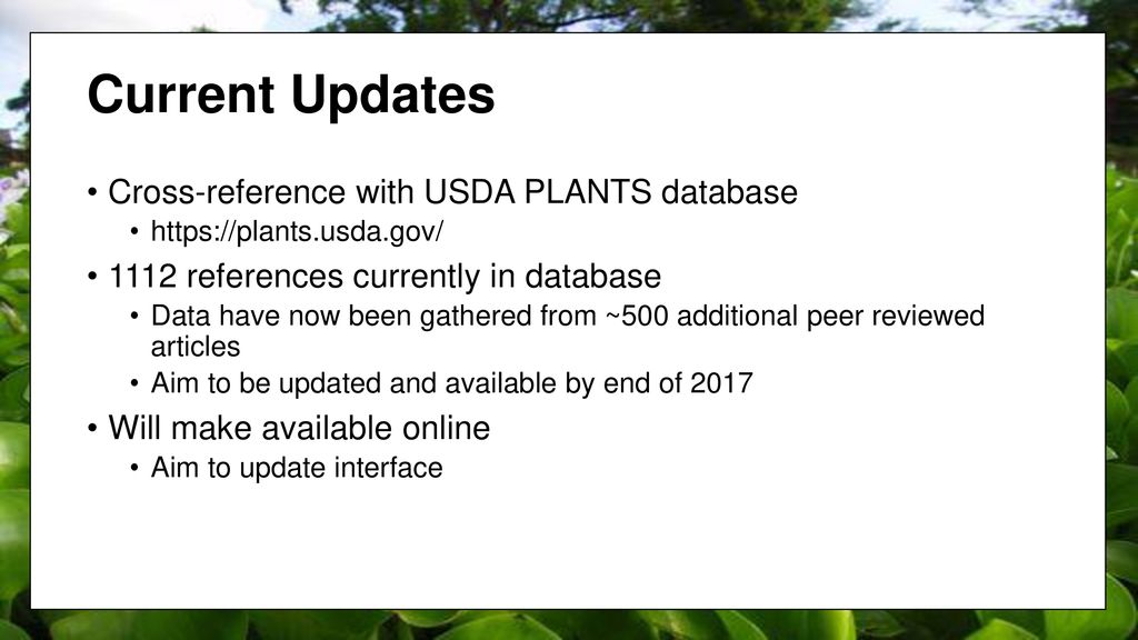 Update of the USDA Phytoremediation Database - ppt download