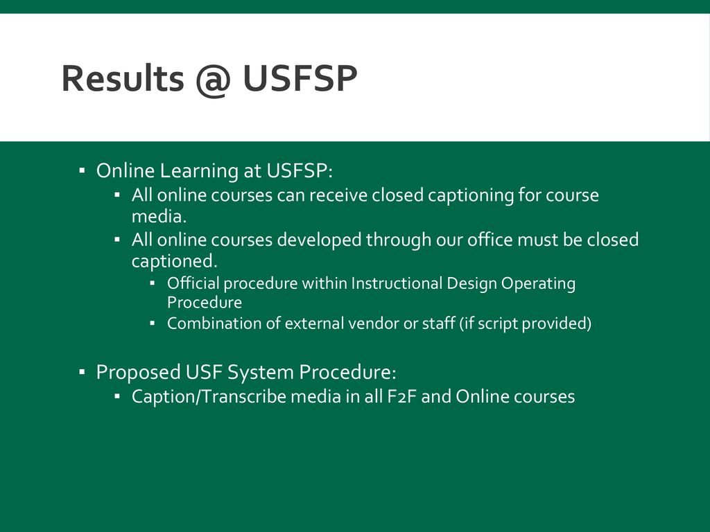 USFSP Online Learning at USFSP: