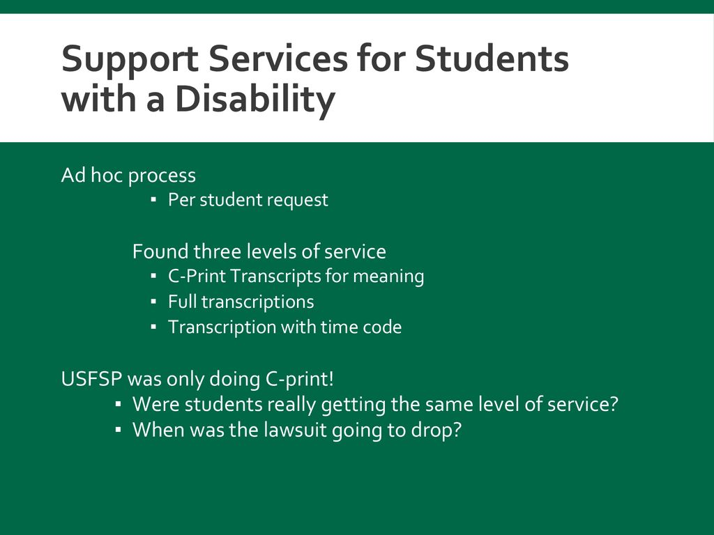 Support Services for Students with a Disability