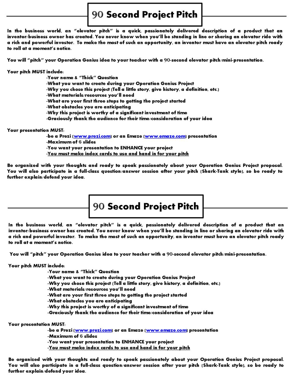 90 Second Project Pitch 90 Second Project Pitch - ppt download