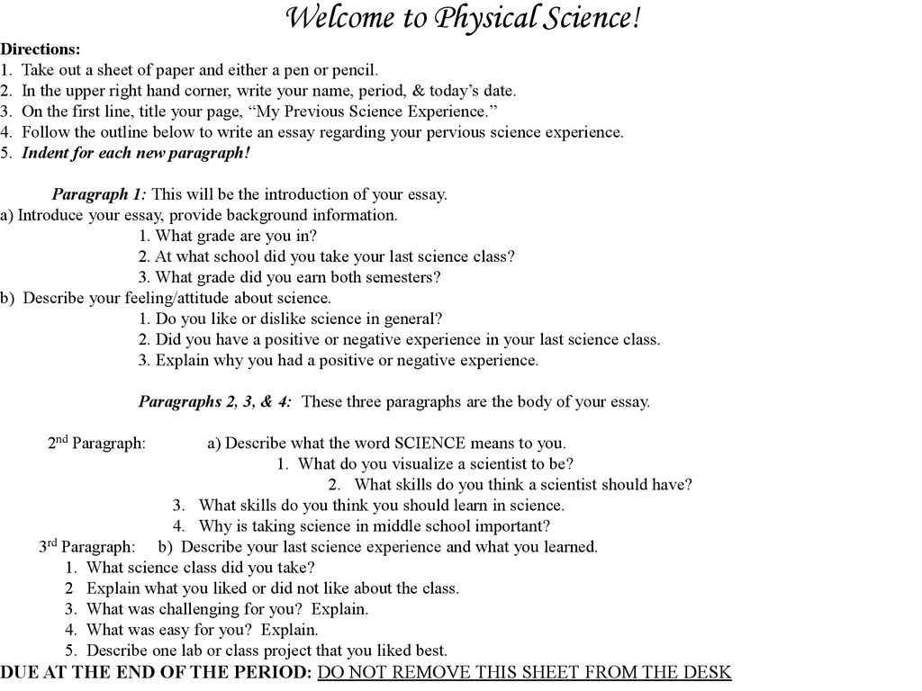 Science essay questions